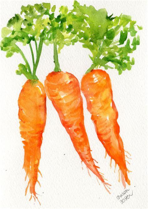 original color of carrots original carrots watercolor painting 5 x 7 small vegetable