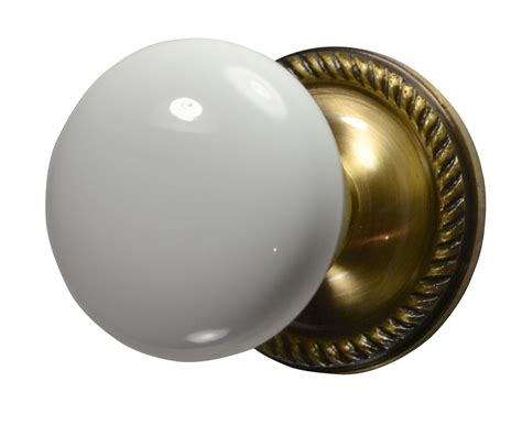 Vintage Brass Door Knobs by White Porcelain Door Knob Antique Brass Georgian Roped Plate