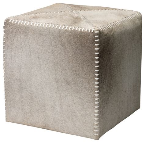small grey ottoman grey hide ottoman contemporary footstools and ottomans
