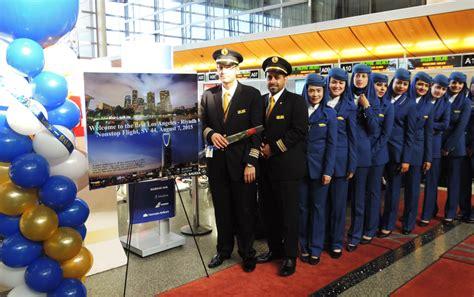 Saudi Airlines Cabin Crew by Saudia Flies Nonstop Los Angeles To Riyadh Eturbonews Etn