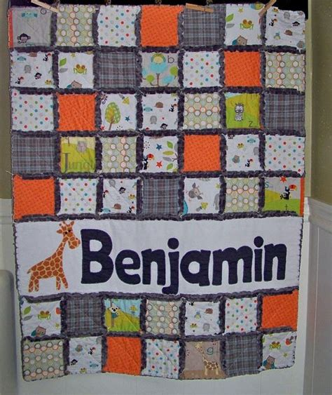rag quilt crib or toddler size personalized with name