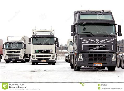 volvo truck group group of volvo trucks in winter conditions editorial stock