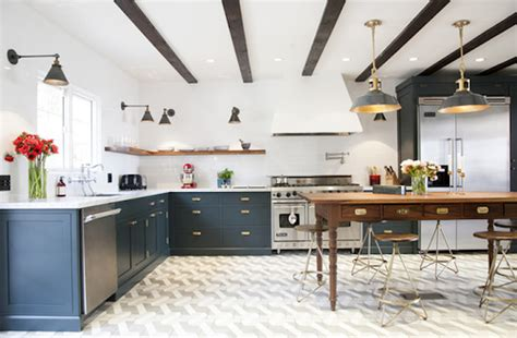 Elements Home Design Portfolio navy white and brass kitchen