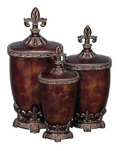 Decorative Kitchen Canisters Sets Fleur De Lis Kitchen Canisters Set Of Three Classy Glass
