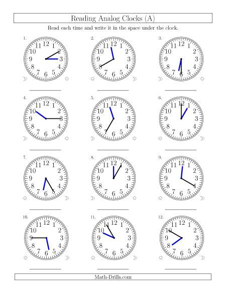 hour and minute template time and clock worksheets