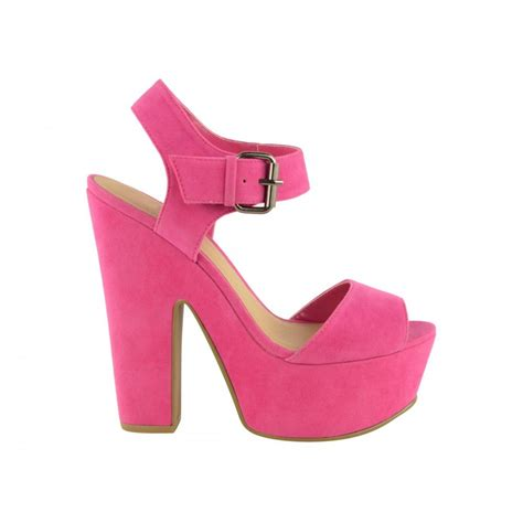 pink suede block heel platform shoes from parisia