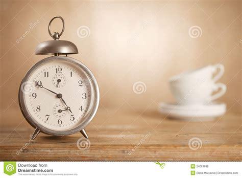 5 o clock tea time retro alarm white tea cups stock photo image of background minute 24081688