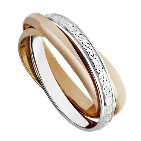 Wedding Ring by 9ct Two Colour Gold Sparkle Cut Russian Wedding Ring