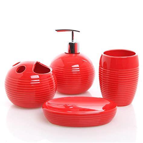 4 piece red ceramic full bathroom accessory set