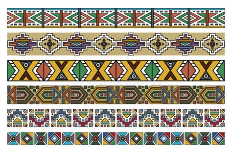 set traditional african ndebele patterns vector stock ndebele african border pattern art 2 stock vector