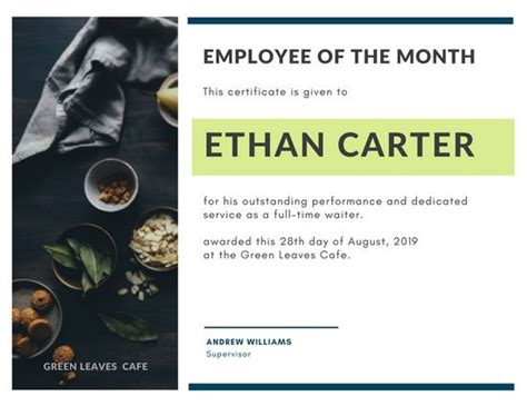 stunning employee of the month certificate template free pictures resume sles writing