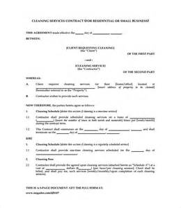 Free Cleaning Contract Template by Cleaning Contract Template 9 Documents In Pdf