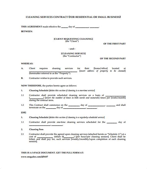 cleaning contract template 9 download documents in pdf