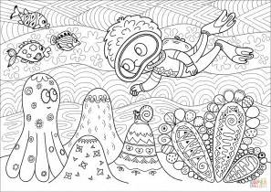 Printable Scuba Diver Coloring Pages by Diver Observing Coral Reef Coloring Page Free Printable