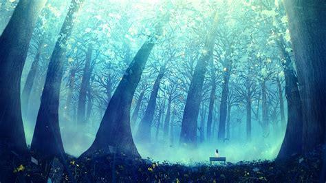 wallpaper blue forest deep blue forest wallpaper anime pinterest forest