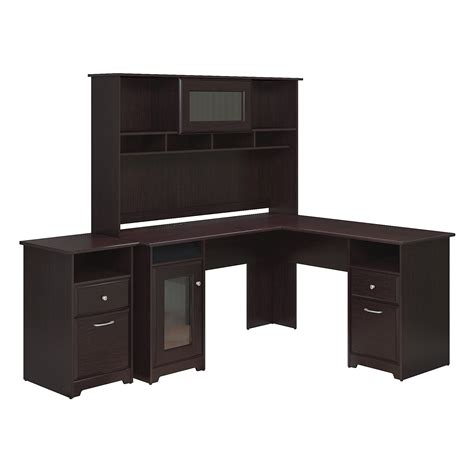 bush cabot collection 60 inch l shaped desk bush furniture cabot collection 60w l desk hutch and 2