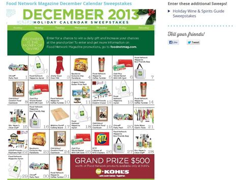 Food Network Magazine Sweepstakes - food network magazine holiday calendar sweepstakes