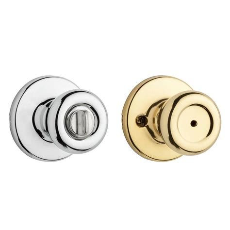 Chrome Bathroom Door Knobs Kwikset Polo Polished Brass Bed Bath Knob 300p 3 6al Rcs The Home Depot