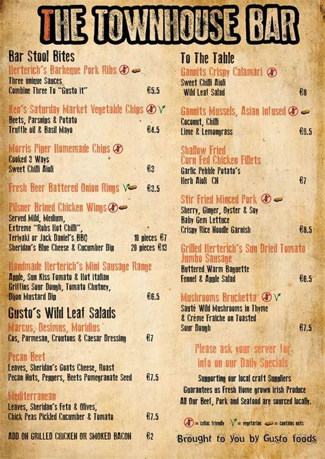 top bar menu 16 best images about bar menu on pinterest restaurant