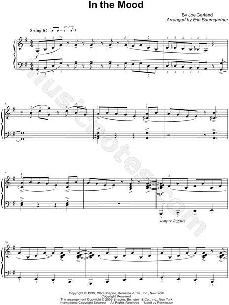 swing the mood lyrics sheet music quot in the mood quot by glenn miller music
