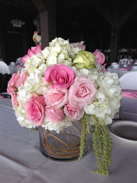 Pink White Low Centerpiece I M Getting Hitched Low Wedding Centerpieces