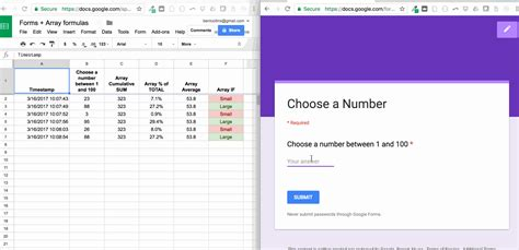 google form use array formulas to auto fill calculation columns when