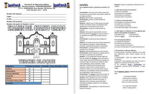 examen del cuarto grado del tercer bloque del ciclo examen cuarto bimestre tercer grado examen del cuarto