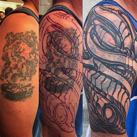 biomechanical tattoo shops in progress biomechanical coverup remington tattoo parlor