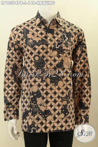 Kemeja Hem Atasan Baju Seragam Pria Batik 1358 Ungu model baju batik atasan pria motif kawung kemeja batik