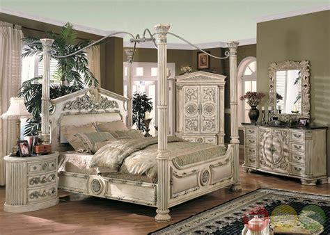 4 post bedroom set caledonian victorian inspired canopy bedroom set in antique white free shipping