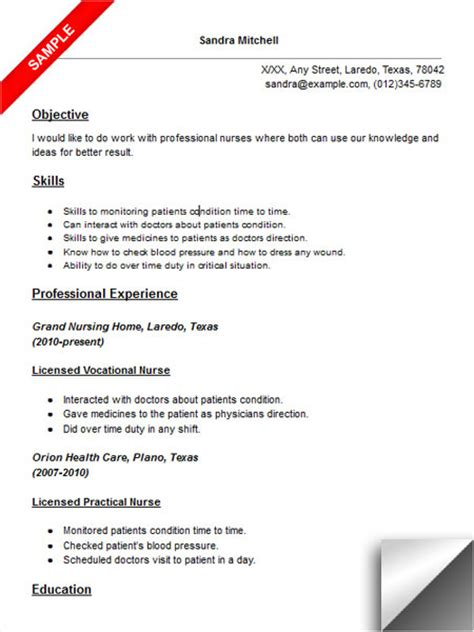 lvn resume exles licensed vocational lvn resume sle