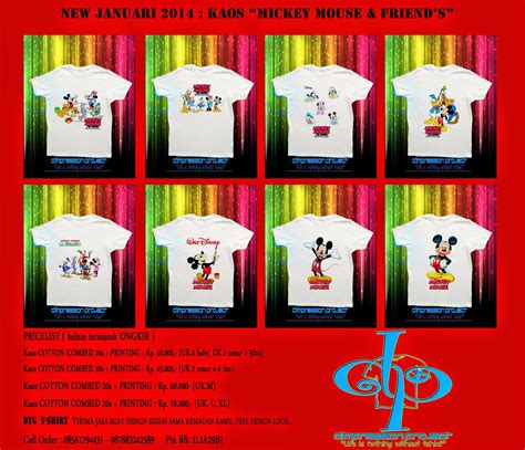Kaos Micky Mouse Family d impression project jual kaos anak anak mickey mouse