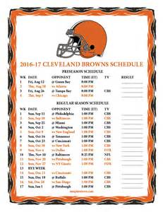 cleveland browns home schedule printable 2016 2017 cleveland browns schedule