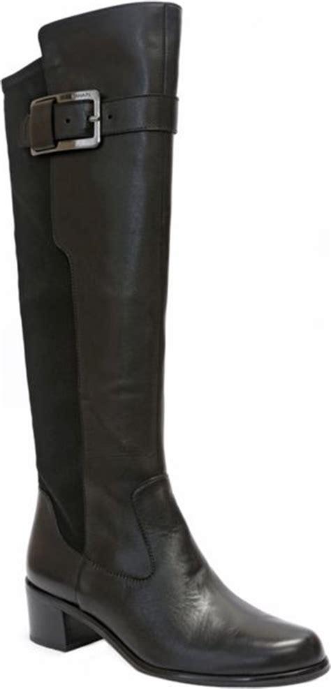tahari karmel black leather boots in black black
