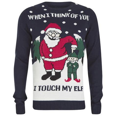 Men's Touch My Elf Christmas Jumper   Navy   IWOOT