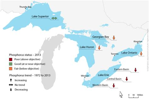 map of canada and lakes phosphorus levels in the offshore waters of the great