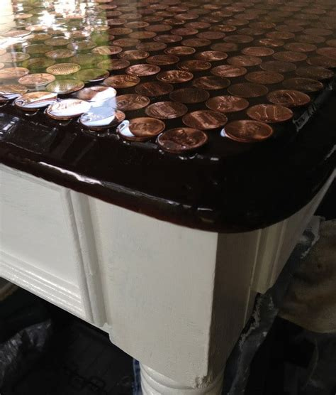 penny table top epoxy how to make a penny top coffee table diy