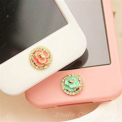1pc bling crysta camellia flower apple iphone home button
