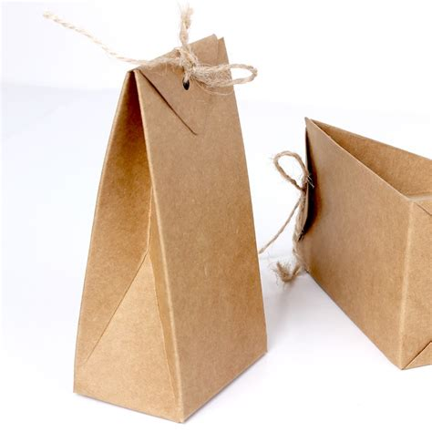 Fold Paper Bag - thick brown kraft paper folding gift pouch bag lace up