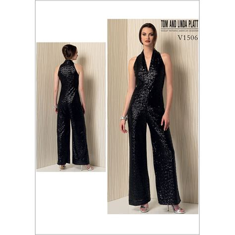 jumpsuit pattern vogue misses sleeveless wide leg jumpsuit vogue sewing pattern