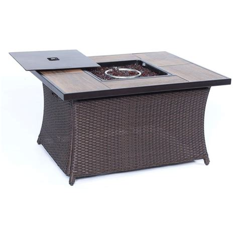 wicker pit table hanover 9 8 in wicker pit table in brown with