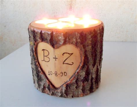 wood stump candle holder candle holder with 4 tea light spots