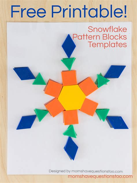 snowflake pattern blocks templates moms have questions too