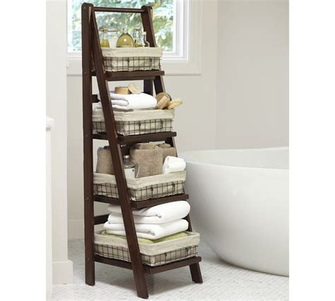 ladder shelf bathroom benchwright ladder floor storage if you have the space