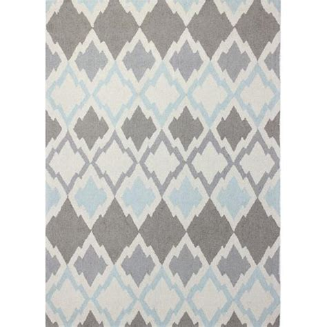 pattern grey rug knotted diamonds ivory wool rug