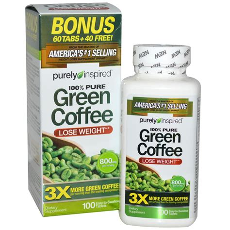 Coffee Green 800 purely inspired green coffee 800 mg 100 tablets iherb