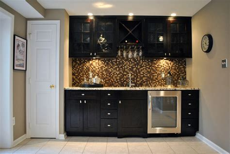 Contemporary Wet Bar and Bathroom Remodel
