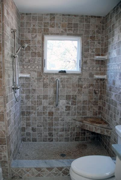Tiled Shower Stall With Corner Bench And Window Cabin Bathroom Showers With Windows