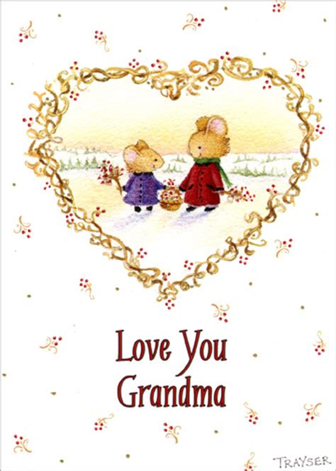love  grandma christmas card  recycled paper