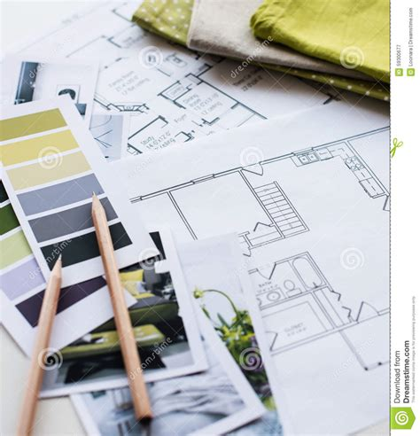 interior design fabric interior designers working table stock photo image 59300677